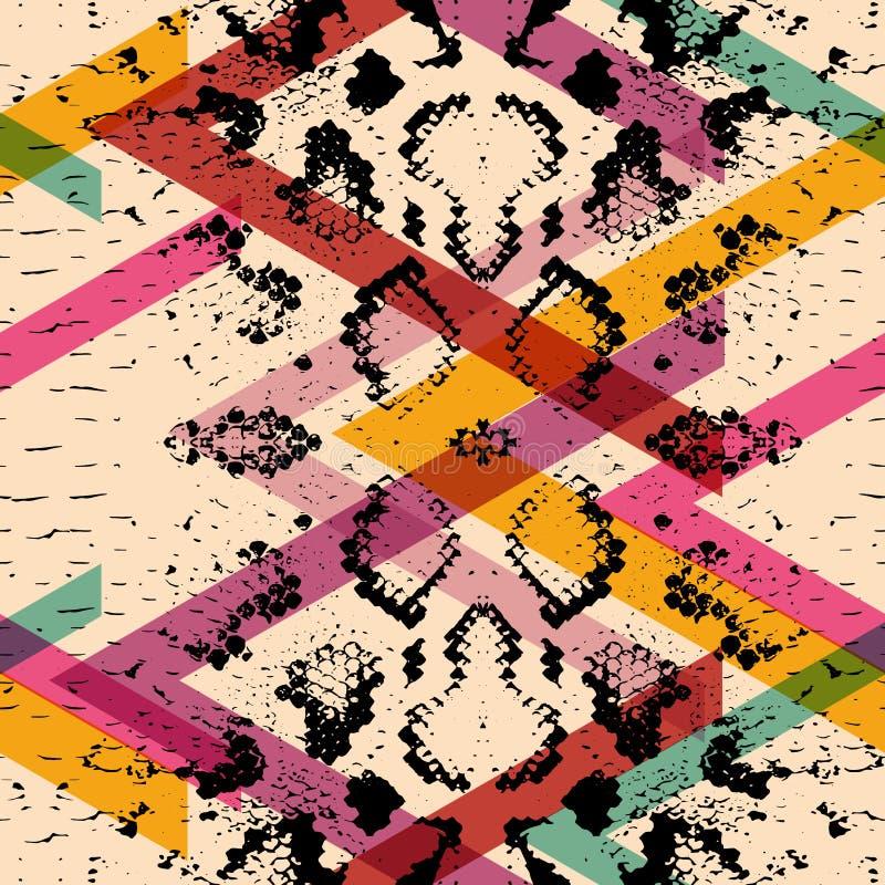 Wąż skóry tekstury bezszwowy wzór czarnych magenta pomarańcz menchii purpurowy błękitny druk, Geo abstrakta etniczny nowożytny mo ilustracji