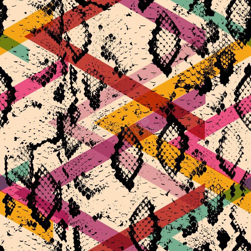 Wąż skóry tekstury bezszwowy wzór czarnych magenta pomarańcz menchii purpurowy błękitny druk, Geo abstrakta etniczny nowożytny mo ilustracja wektor