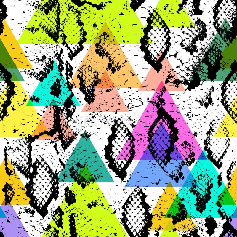 Wąż skóry tekstury bezszwowy wzór czarnych magenta pomarańczowych bez menchii purpurowy błękitny beżowy druk, Geo modnisia etnicz ilustracji