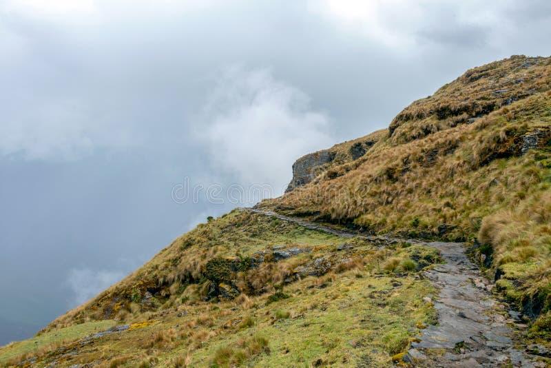 Wąska ścieżka na wycieczkuje śladzie przy dużych wysokości Peruwiańskimi górami między Maizal i Yanama, Peru zdjęcie stock