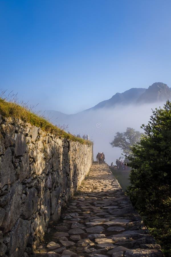 Wąska kamienna ścieżka przy Mach Picchu obrazy royalty free