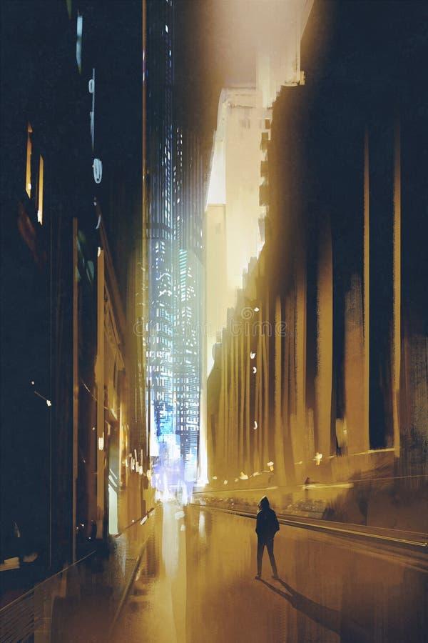 Wąska ulica przy nocą i sylwetką mężczyzna chodzi samotnie ilustracji