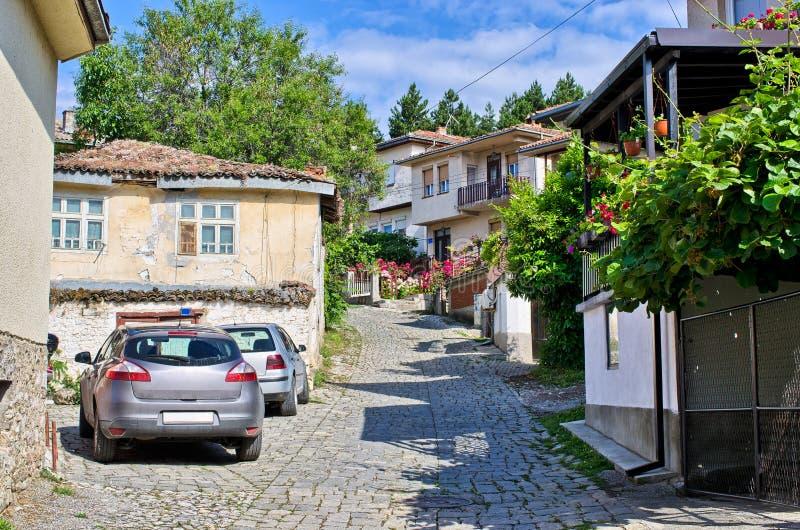 Wąska ulica w Ohrid miasteczku, Macedonia zdjęcie royalty free