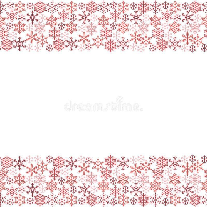Wąski bezszwowy wzór czerwoni płatek śniegu Zima wzór dla sztandaru, powitania, karty, bożych narodzeń i nowego roku, zaproszenie ilustracja wektor
