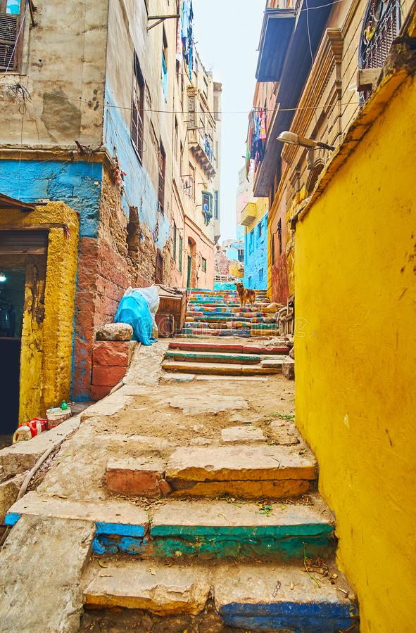 W?ski g?rkowaty backstreet, Kair, Egipt zdjęcia royalty free