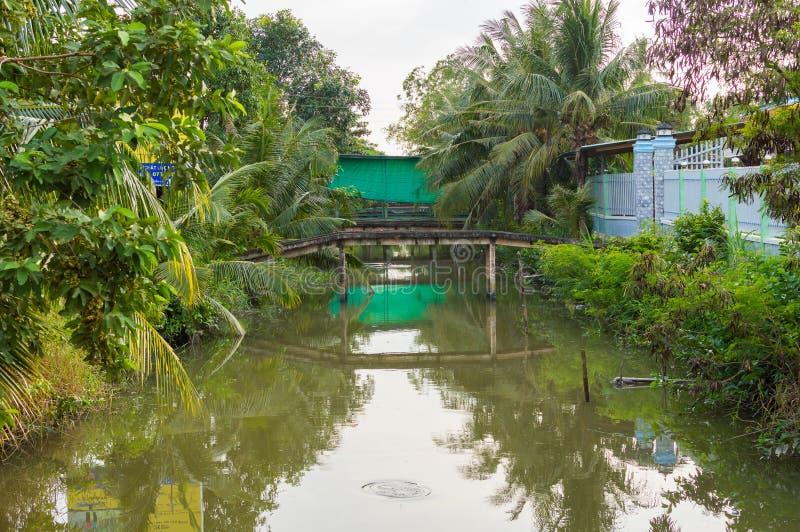Wąski kanał Mekong delta Wietnam fotografia royalty free