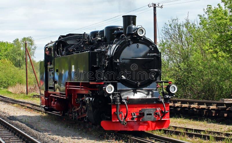 Wąskiego wymiernika parowa lokomotywa fotografia royalty free