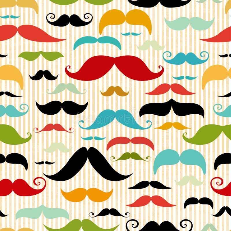 Wąsy bezszwowy wzór w rocznika stylu ilustracji