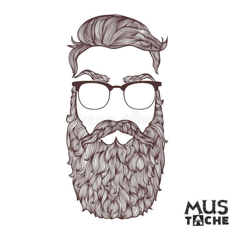 Wąsy broda i Włosiany styl royalty ilustracja
