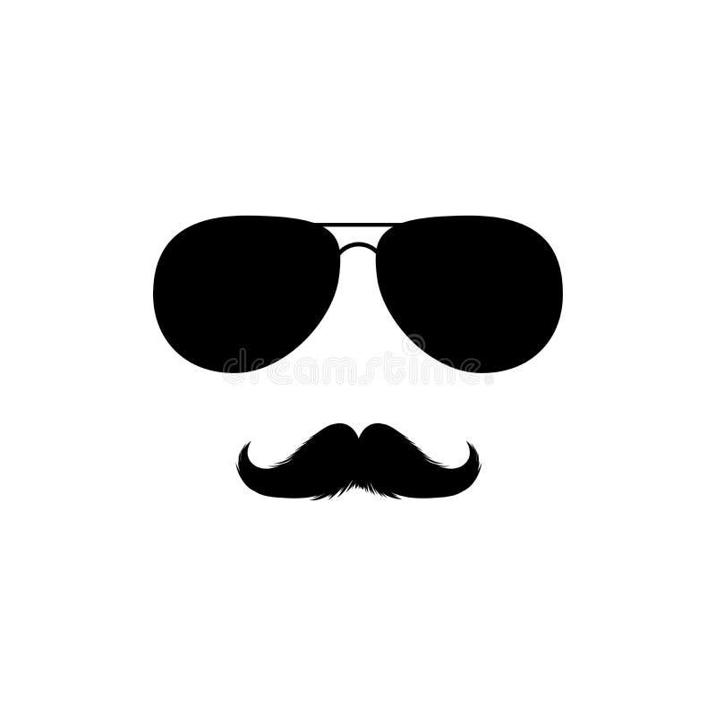 Wąsy Clipart i okulary przeciwsłoneczni Czerni Odosobniona Wektorowa sylwetka ilustracja wektor