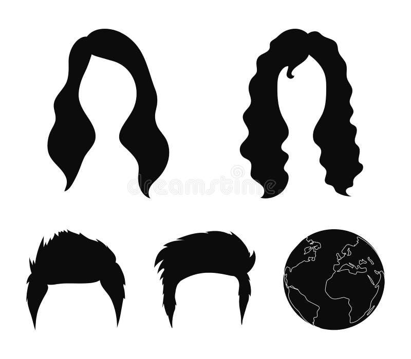 Wąsy i broda, fryzur czarne ikony w ustalonej kolekci dla projekta Eleganckiego ostrzyżenia symbolu zapasu wektorowa sieć ilustracji