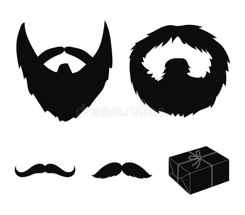 Wąsy i broda, fryzur czarne ikony w ustalonej kolekci dla projekta Eleganckiego ostrzyżenia symbolu zapasu wektorowa sieć royalty ilustracja