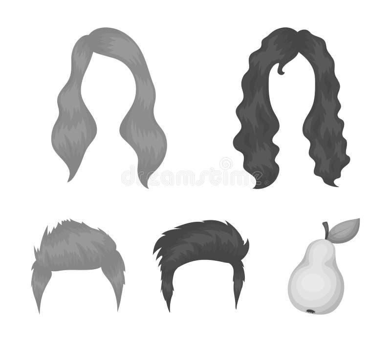 Wąsy i broda, fryzur monochromatyczne ikony w ustalonej kolekci dla projekta Eleganckiego ostrzyżenia symbolu zapasu wektorowa si royalty ilustracja