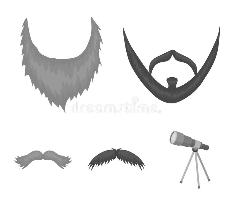 Wąsy i broda, fryzur monochromatyczne ikony w ustalonej kolekci dla projekta Eleganckiego ostrzyżenia symbolu zapasu wektorowa si ilustracji