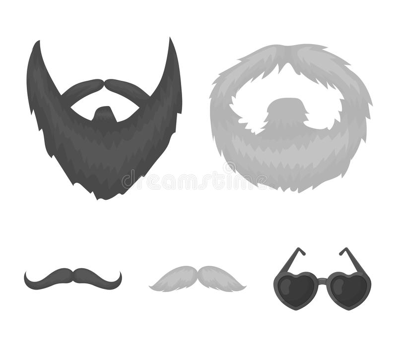 Wąsy i broda, fryzur monochromatyczne ikony w ustalonej kolekci dla projekta Eleganckiego ostrzyżenia symbolu zapasu wektorowa si ilustracja wektor