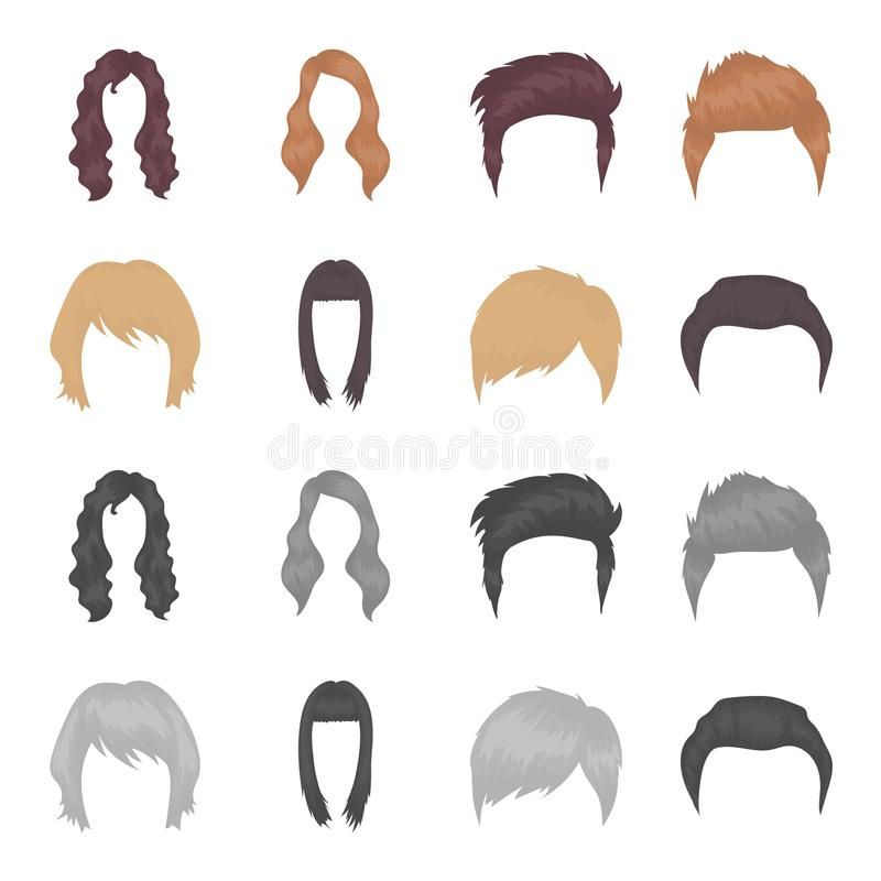 Wąsy i broda, fryzury kreskówka, monochromatyczne ikony w ustalonej kolekci dla projekta Elegancki ostrzyżenie wektoru symbol royalty ilustracja