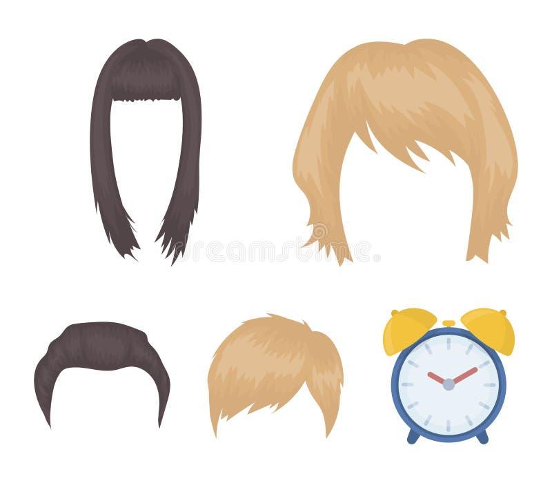 Wąsy i broda, fryzury kreskówki ikony w ustalonej kolekci dla projekta Eleganckiego ostrzyżenia symbolu zapasu wektorowa sieć ilustracji