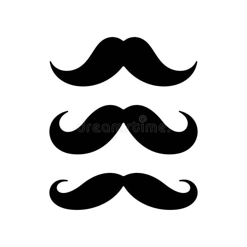 Wąsy ikony płaski set ilustracja wektor