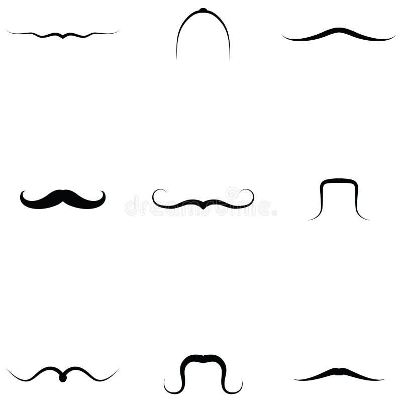 Wąsy ikony Ustawiać royalty ilustracja