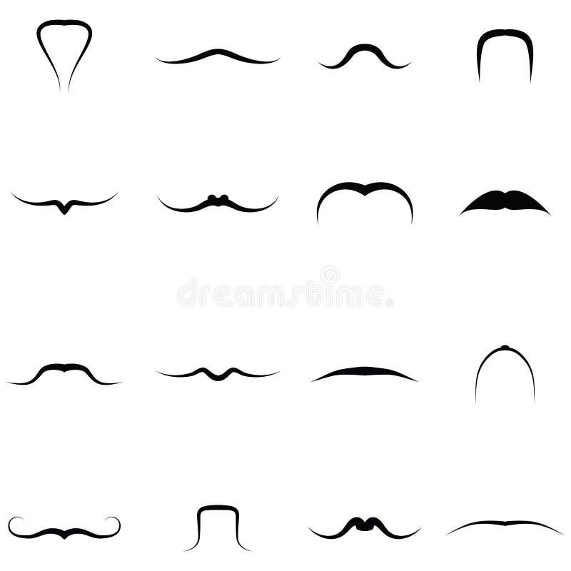 Wąsy ikony Ustawiać ilustracji