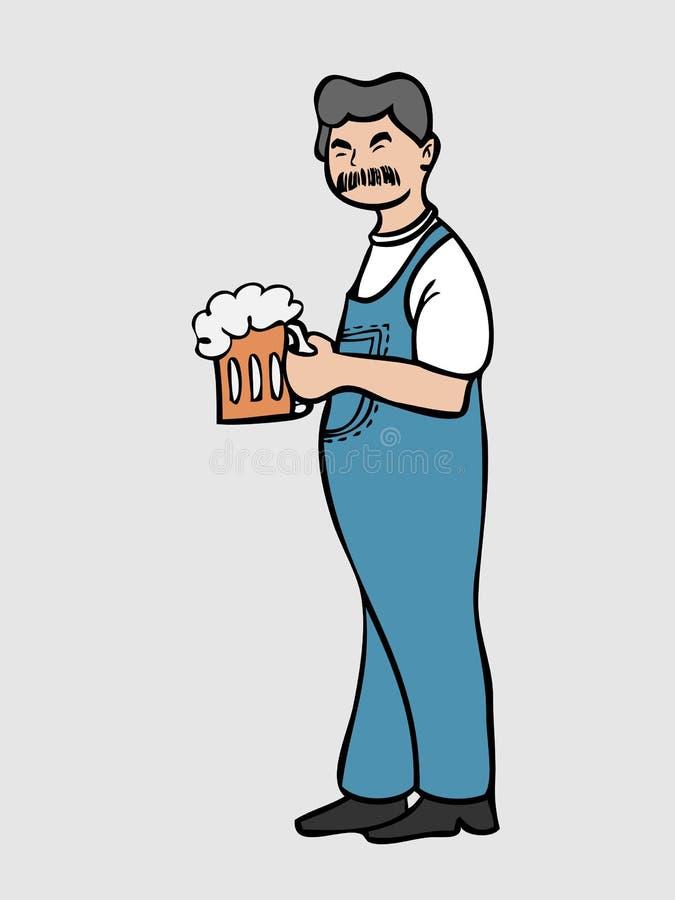 Wąsy mężczyzna w całkowitym cajgu z piwem ilustracja wektor