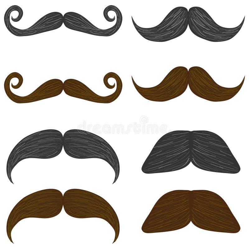 Wąsy, set mężczyzna ` s wąsy ilustracja wektor