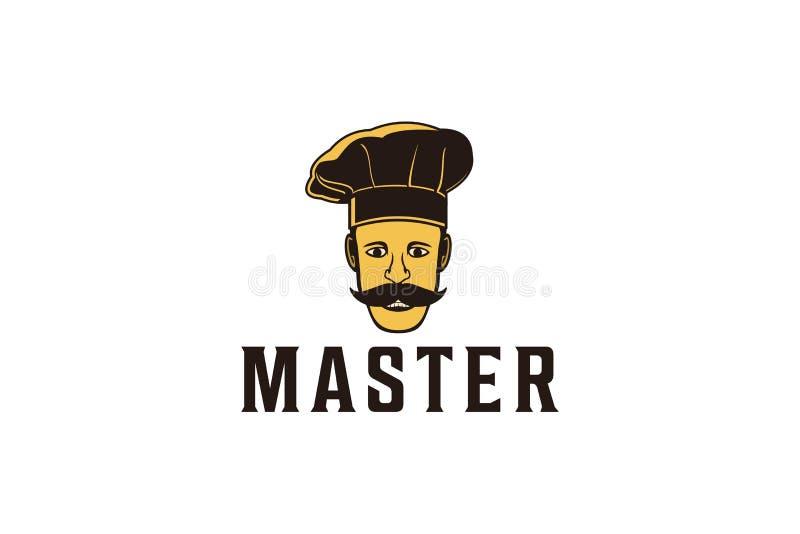 wąsy szefa kuchni azjatykci logo Projektuje inspirację Odizolowywającą na Białym tle ilustracji