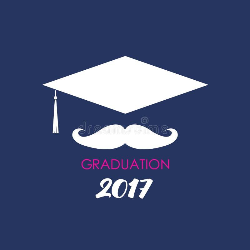 Wąsy szkoły wyższa absolwenta kapelusz Wektorowy ilustracyjny logo royalty ilustracja