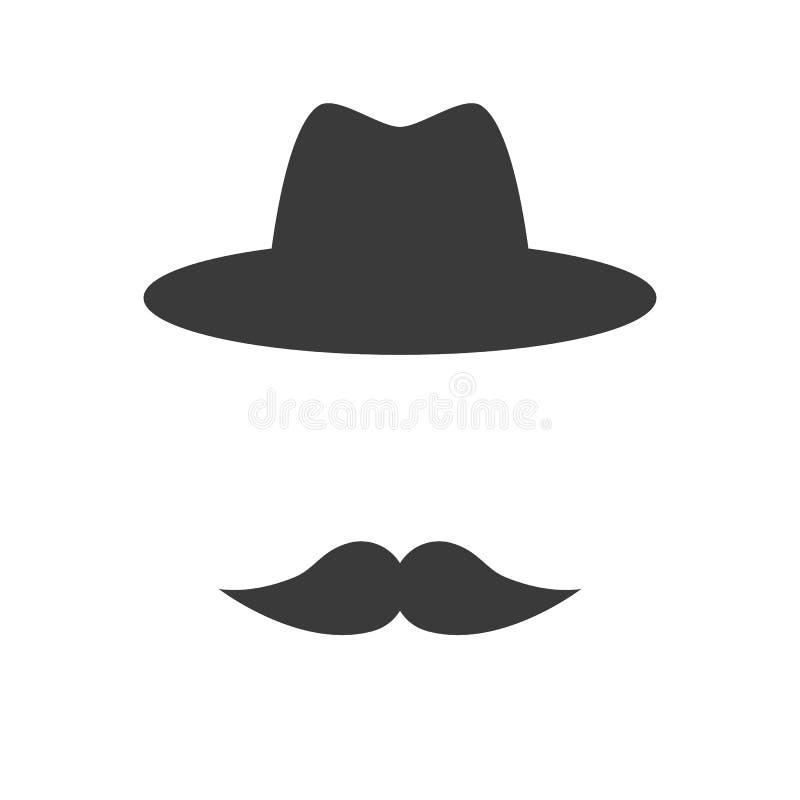 Wąsy z kapeluszem ilustracji