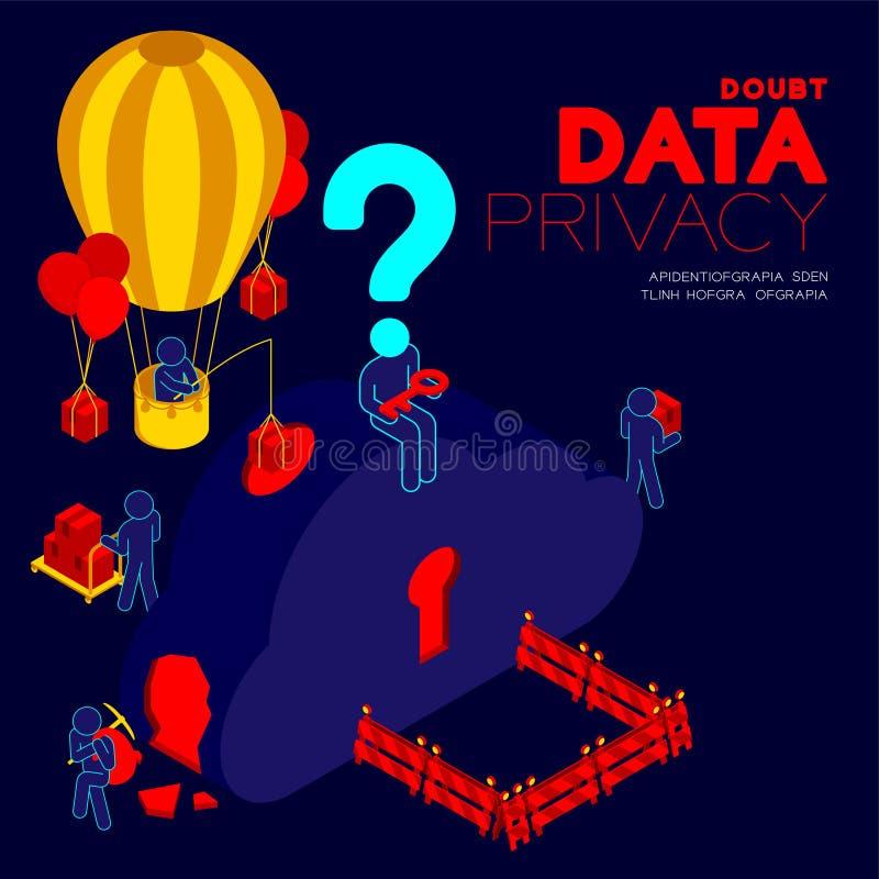 Wątpi dane prywatności problemowego pojęcie, mężczyzny piktograma znak zapytania głowy obsiadanie, isometric obłocznego magazyn i ilustracji