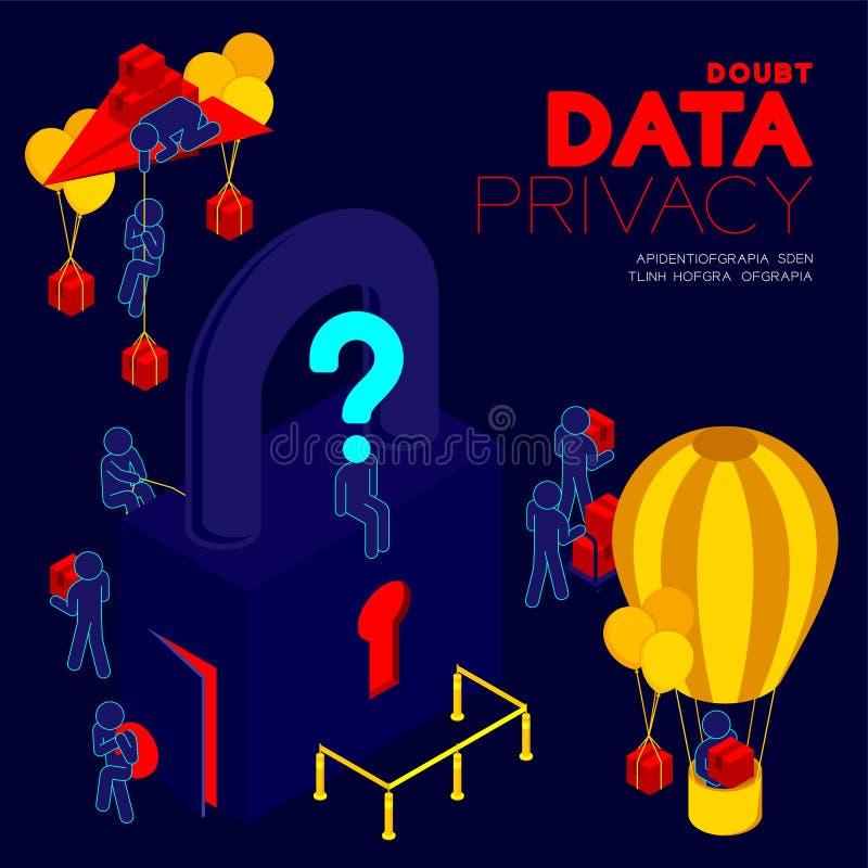 Wątpliwość dane prywatności problemowy pojęcie, mężczyzny piktograma znak zapytania głowy obsiadanie, isometric kędziorek i słup, ilustracji