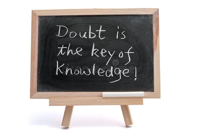 Wątpliwość jest kluczem wiedza zdjęcie stock