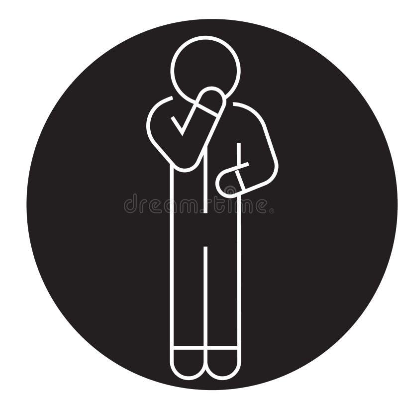Wątpliwość mężczyzny czerni pojęcia wektorowa ikona Wątpliwość mężczyzny płaska ilustracja, znak ilustracji