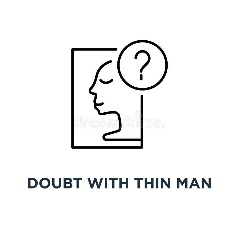 wątpliwość z cienką mężczyzna ikoną, symbol wyborowa sposobność lub decyzja intuicji pojęcia uderzenia stylu trendu nowożytną pro royalty ilustracja