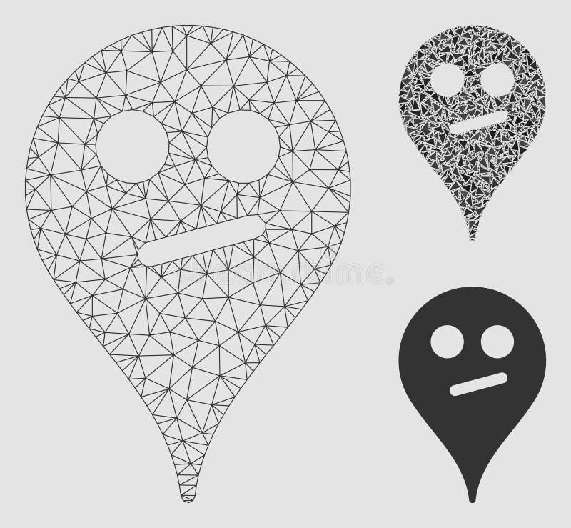 Wątpliwości mapy markiera Smiley Wektorowej siatki trójboka i modela mozaiki 2D ikona ilustracji
