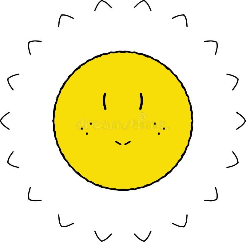 Wątpliwy olśniewający żółty słońce ilustracja wektor