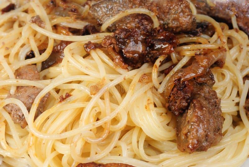 Wątróbka, mięso lub spagetti fotografia stock