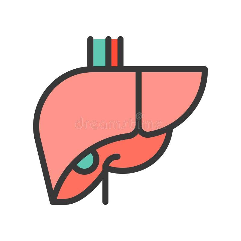 Wątrobowy prosty wypełniający konturu ikony, medycznego i organu set, royalty ilustracja
