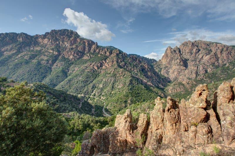 Wąwozy Spelunca w Corsica, Francja - obraz stock