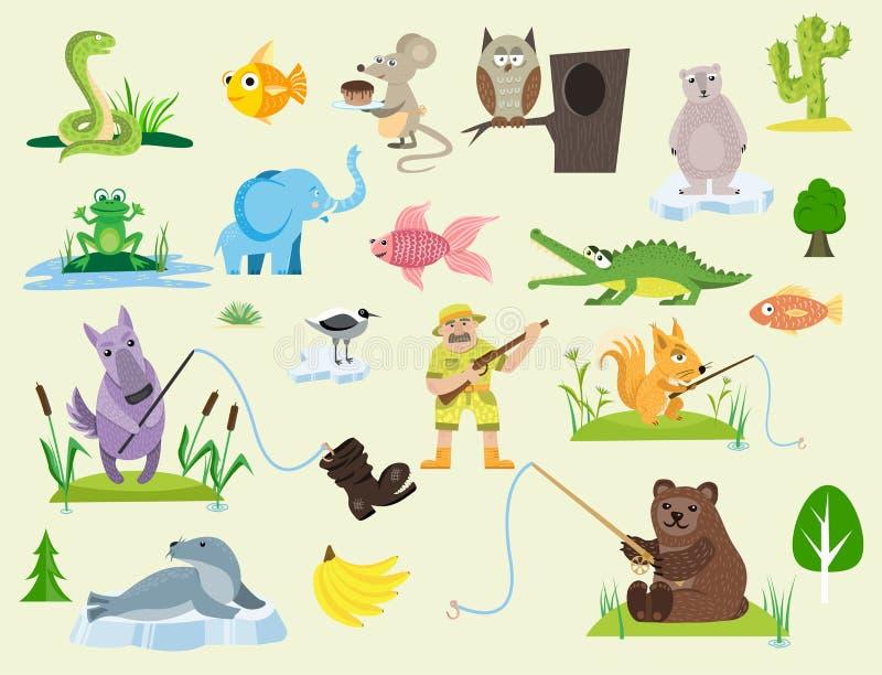 Węża charakteru przyrody natury żmii myszy sowy żaby pytonu mężczyzna charakteru jadu płaskiego drapieżnika zwierzęca wektorowa i royalty ilustracja