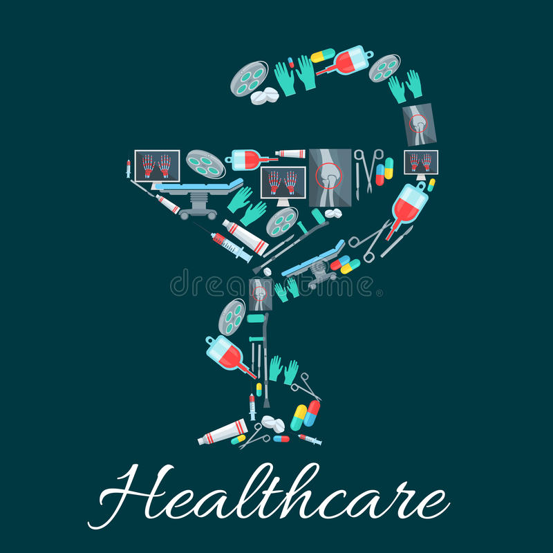 Węża i filiżanki apteki symbol z medycznymi ikonami royalty ilustracja