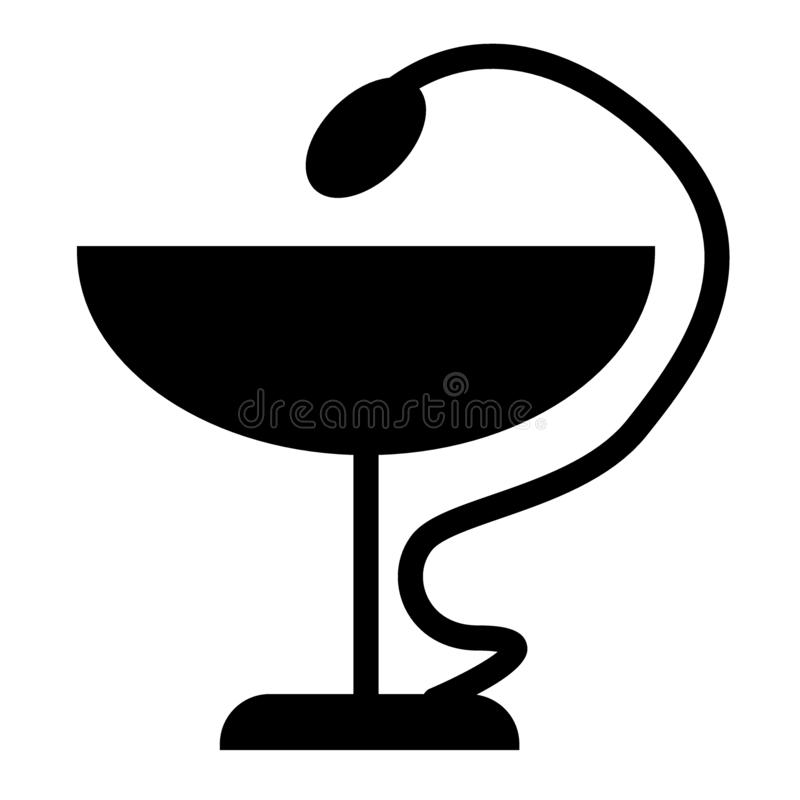 Węża i pucharu bryły ikona Apteka symbolu wektorowa ilustracja odizolowywająca na bielu Kaduceuszu glifu stylu szyldowy projekt ilustracja wektor