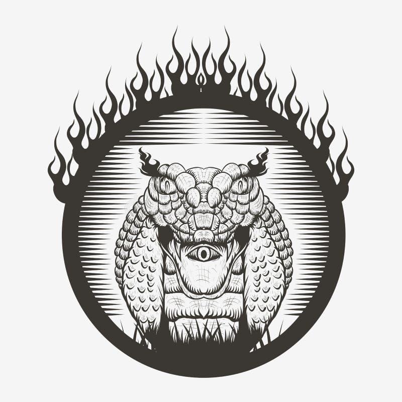 Węża królewiątka kobry ogienia oparzenie wektoru ilustracje ilustracji
