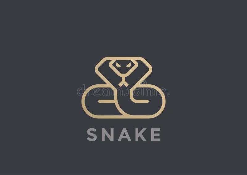 Węża loga wektorowego projekta geometryczny Liniowy styl C royalty ilustracja