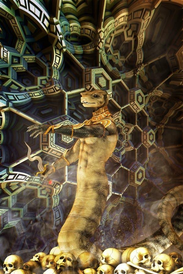 Węża obcy wśrodku techological struktury ilustracja wektor