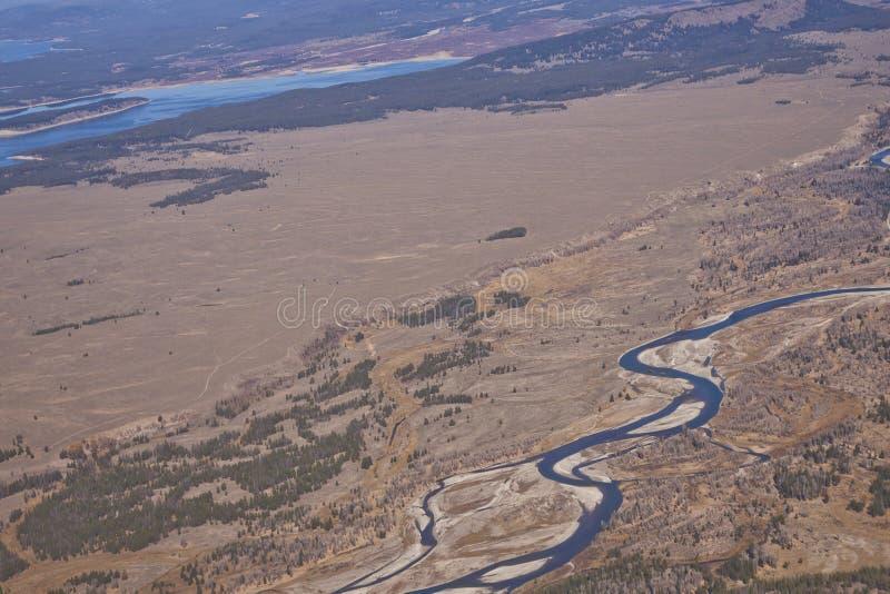 Węża Rzeka od Powietrza w Wyoming zdjęcie stock