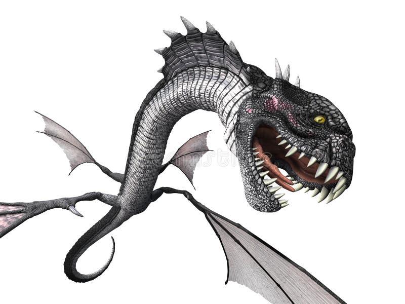 Węża smoka napadanie ilustracja wektor