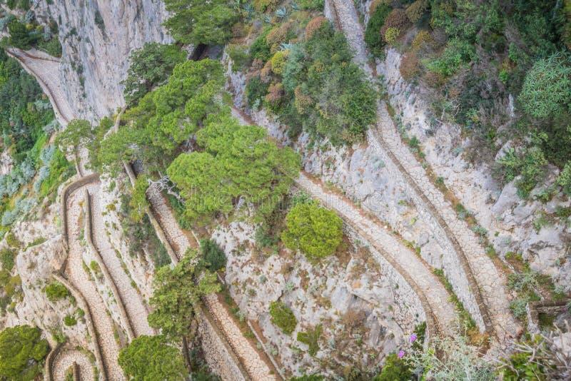Wężowata ścieżka Przez Krupp w Capri, Włochy fotografia royalty free