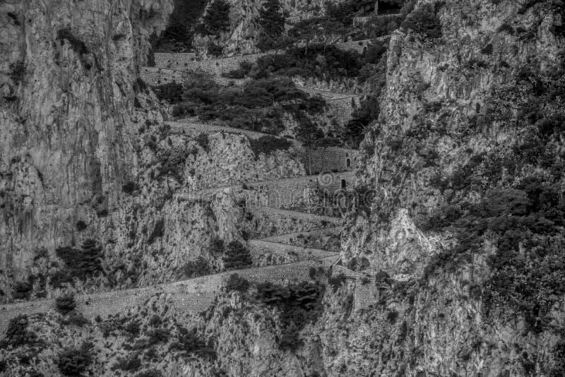 Wężowata ścieżka Przez Krupp w Capri, Włochy obrazy royalty free