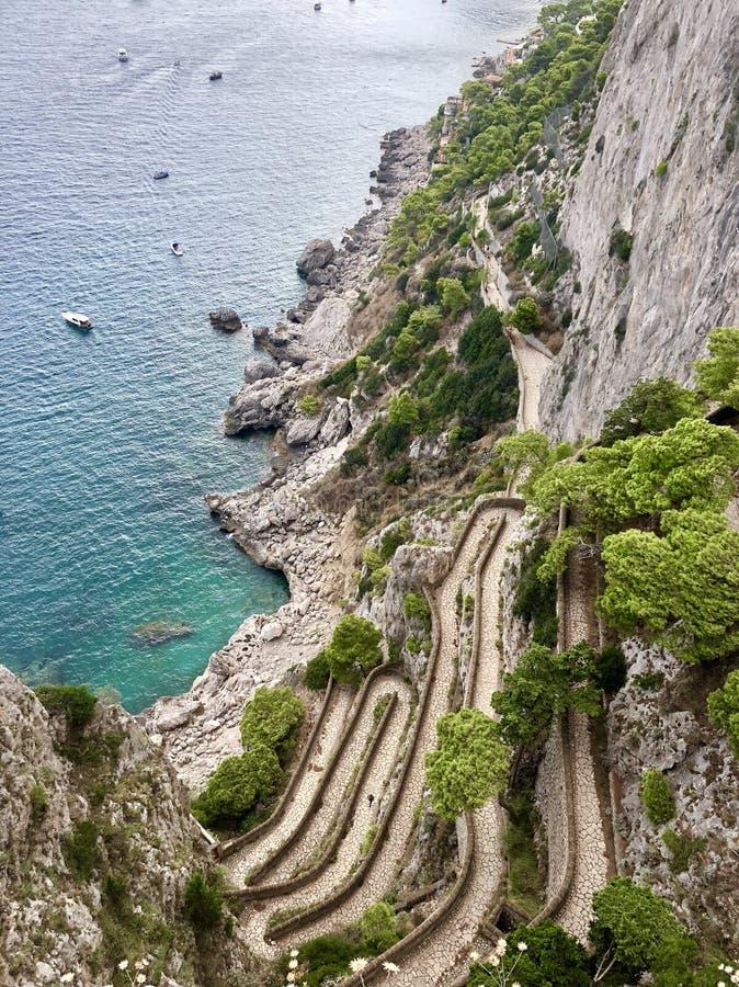 Wężowata droga morze zdjęcia royalty free